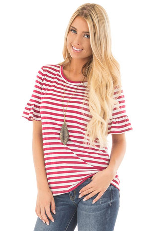 Ruby Red and White Striped Tee with Butterfly Half Sleeves front close up