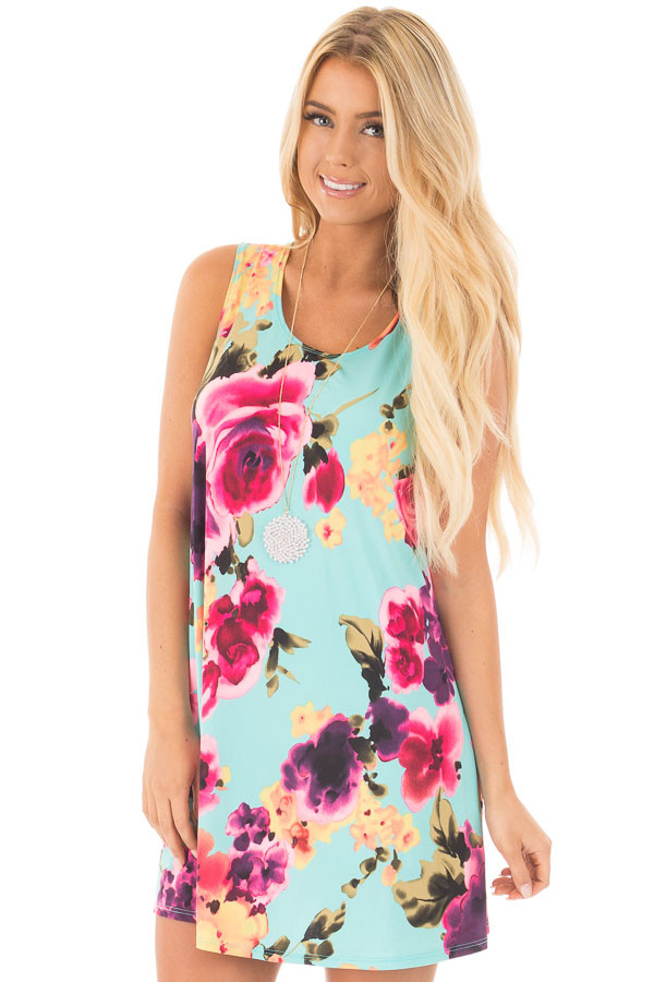 Aqua Slinky Sleeveless Dress with Multicolor Floral Print front close up