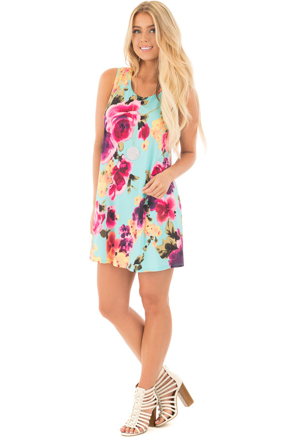 Aqua Slinky Sleeveless Dress with Multicolor Floral Print front full body