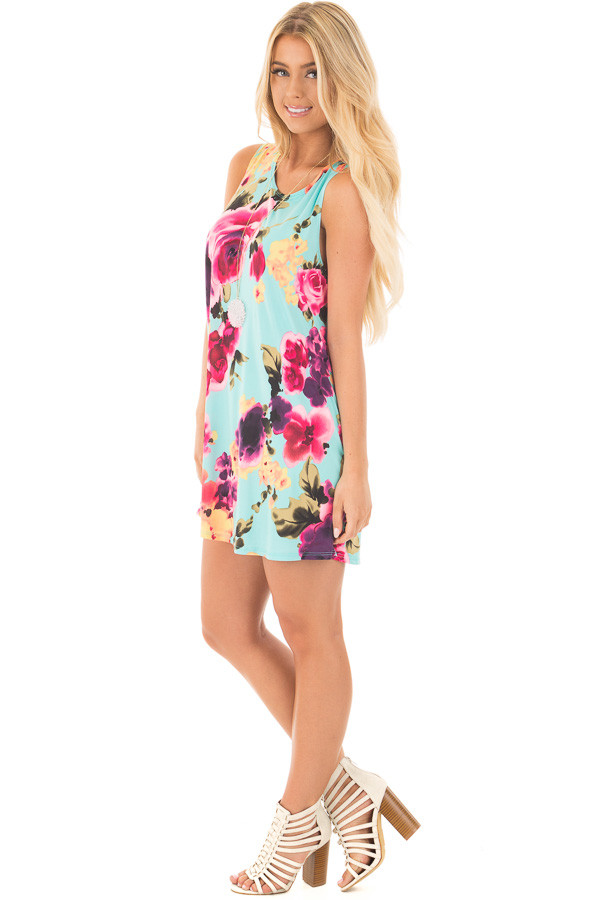 Aqua Slinky Sleeveless Dress with Multicolor Floral Print side full body
