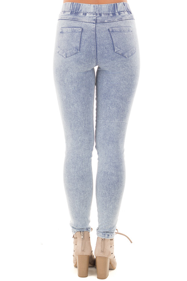Denim Mineral Wash Leggings with Distressed Details back view