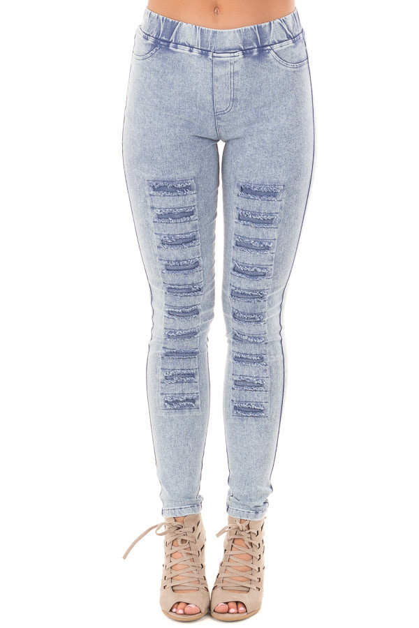 Denim Mineral Wash Leggings with Distressed Details front view