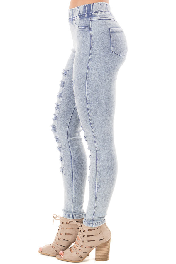 Denim Mineral Wash Leggings with Distressed Details side right leg