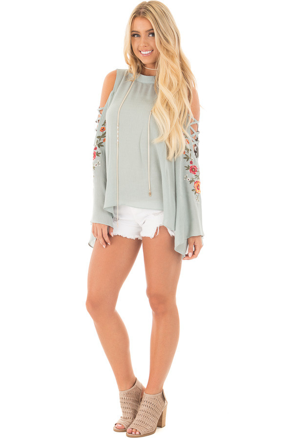 Dusty Blue Blouse with Embroidered Criss Cross Bell Sleeves front full body