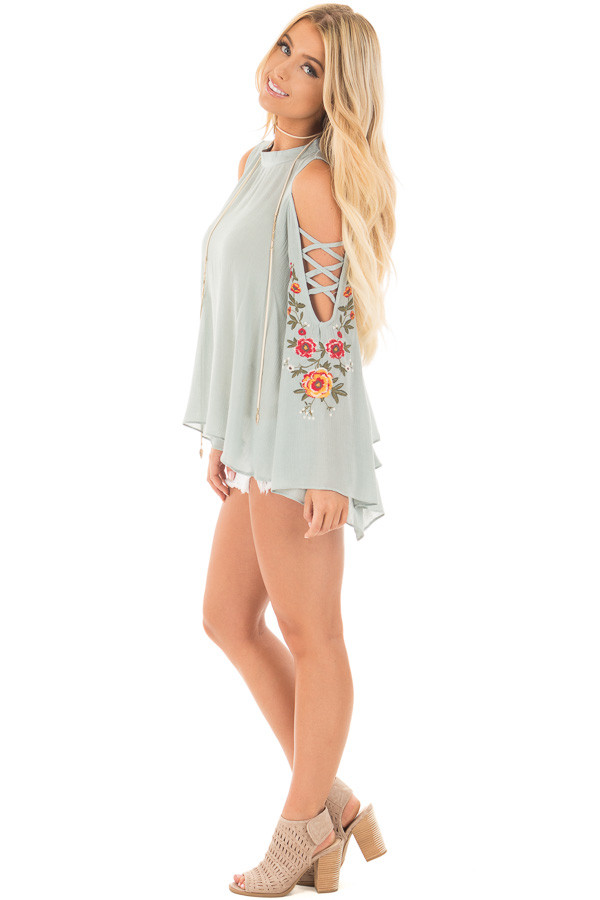Dusty Blue Blouse with Embroidered Criss Cross Bell Sleeves side full body