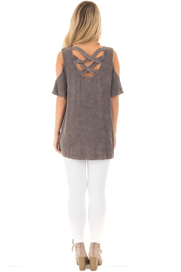 Ash Grey Cold Shoulder Tee with Banded Criss Cross Back back full body