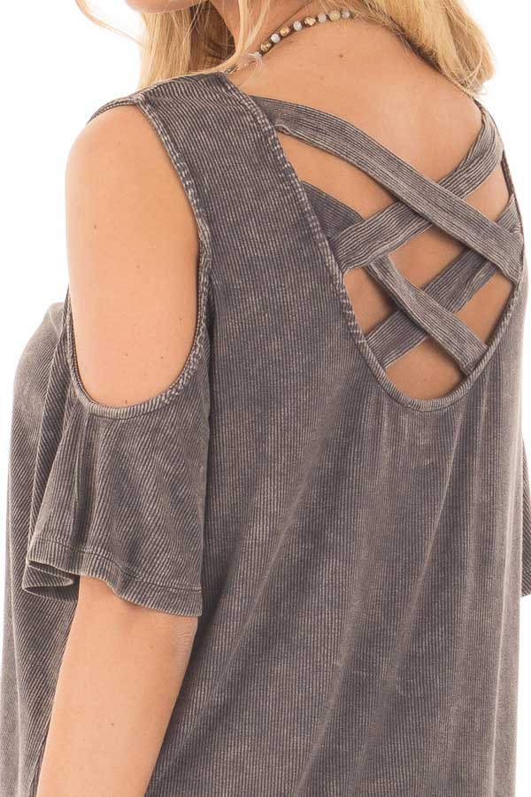 Ash Grey Cold Shoulder Tee with Banded Criss Cross Back detail