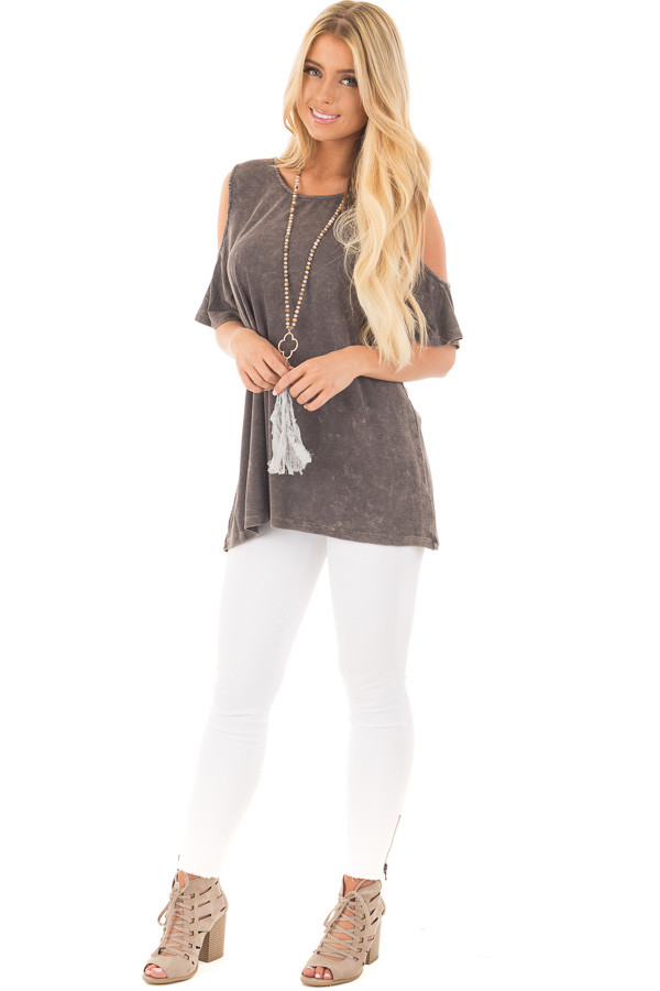 Ash Grey Cold Shoulder Tee with Banded Criss Cross Back front full body