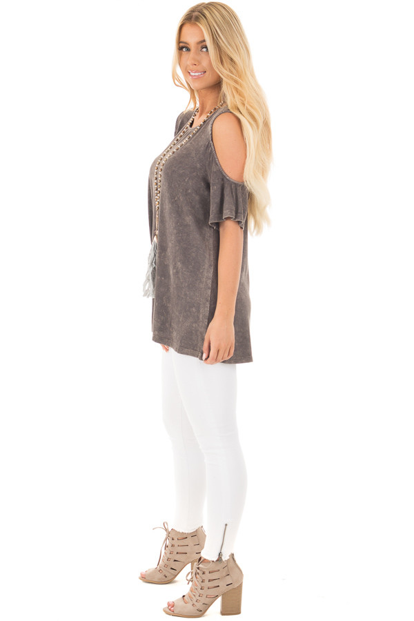 Ash Grey Cold Shoulder Tee with Banded Criss Cross Back side full body