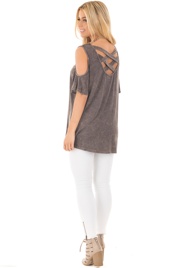 Ash Grey Cold Shoulder Tee with Banded Criss Cross Back back side full body