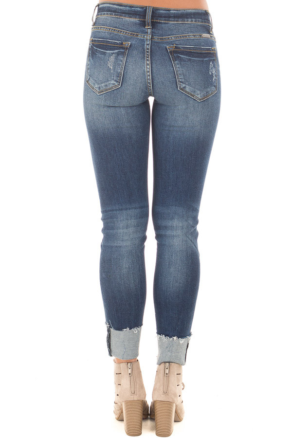 Dark Faded Denim Distressed Cropped Skinny Jeans back view