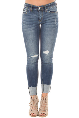 Dark Faded Denim Distressed Cropped Skinny Jeans front view