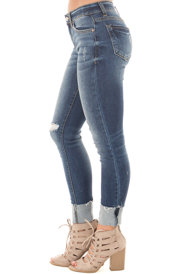 Dark Faded Denim Distressed Cropped Skinny Jeans side right leg