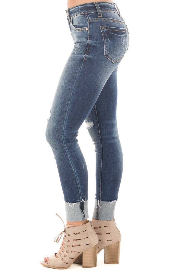 Dark Faded Denim Distressed Cropped Skinny Jeans side left leg