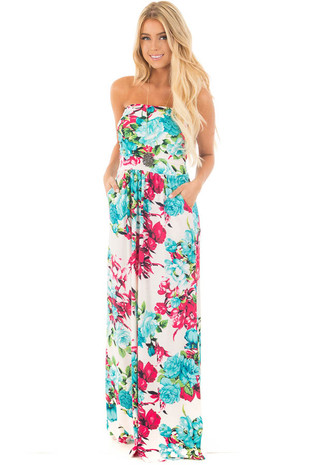White Floral Empire Waist Strapless Dress with Side Pockets front full body