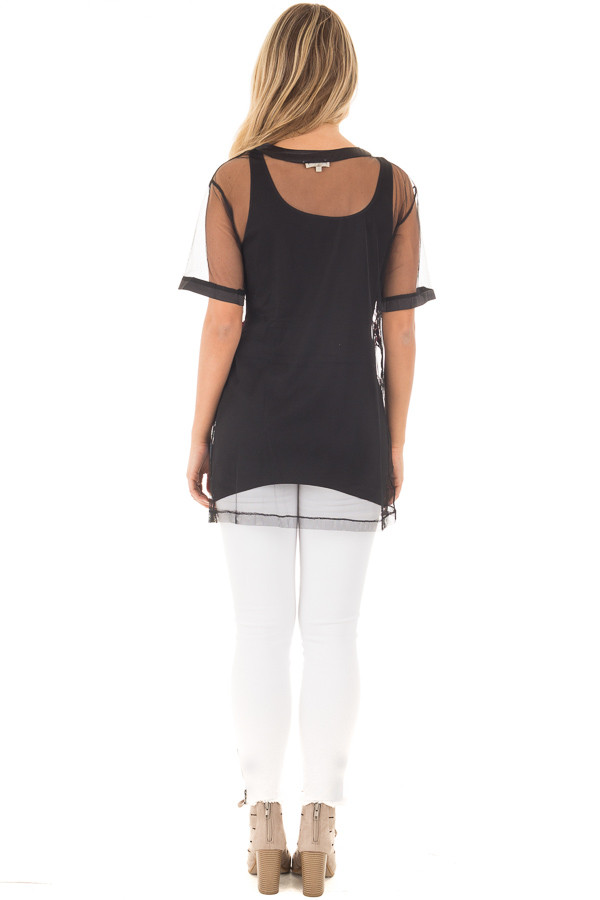 Black Sheer Mesh Shirt with Floral Embroidered Detail back full body
