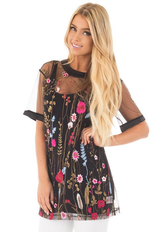 Black Sheer Mesh Shirt with Floral Embroidered Detail front close up