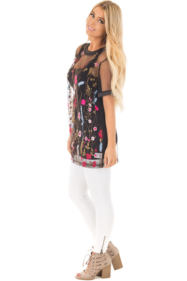Black Sheer Mesh Shirt with Floral Embroidered Detail side full body