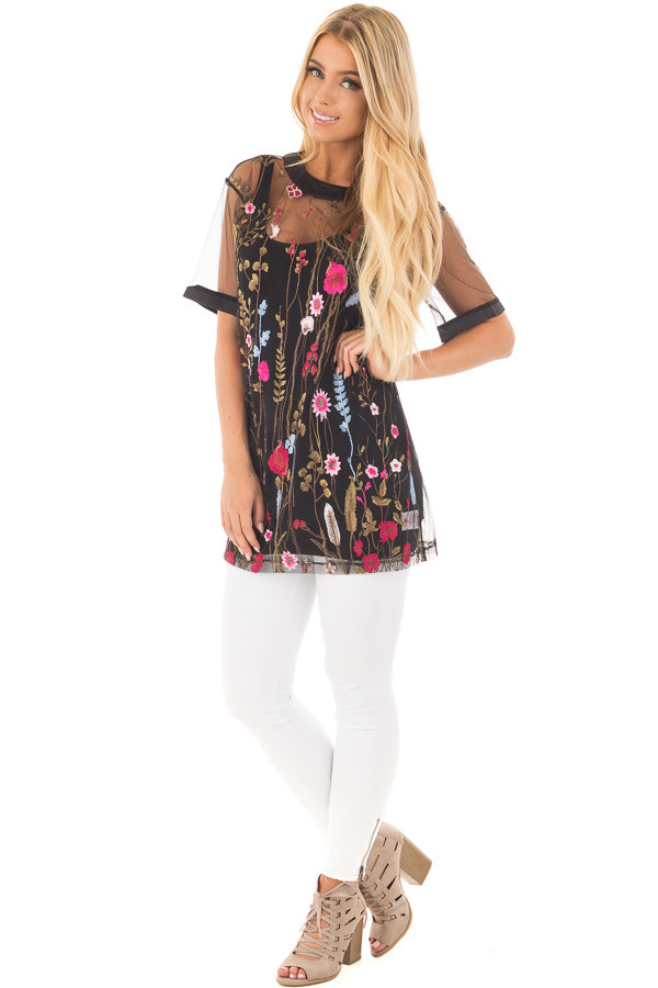 Black Sheer Mesh Shirt with Floral Embroidered Detail front full body