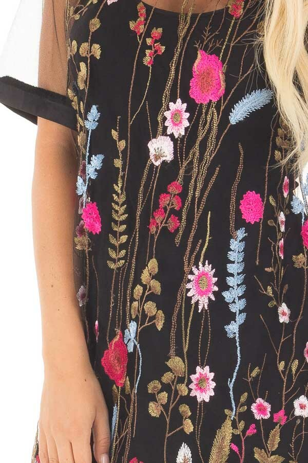Black Sheer Mesh Shirt with Floral Embroidered Detail detail