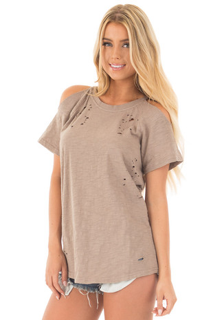 Mocha Distressed Cold Shoulder Raglan Tee front close up