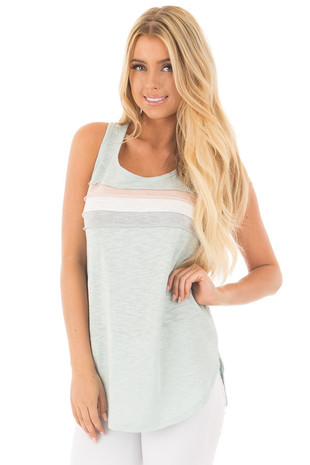 Dusty Mint Knit Tank with Striped Contrast front close up