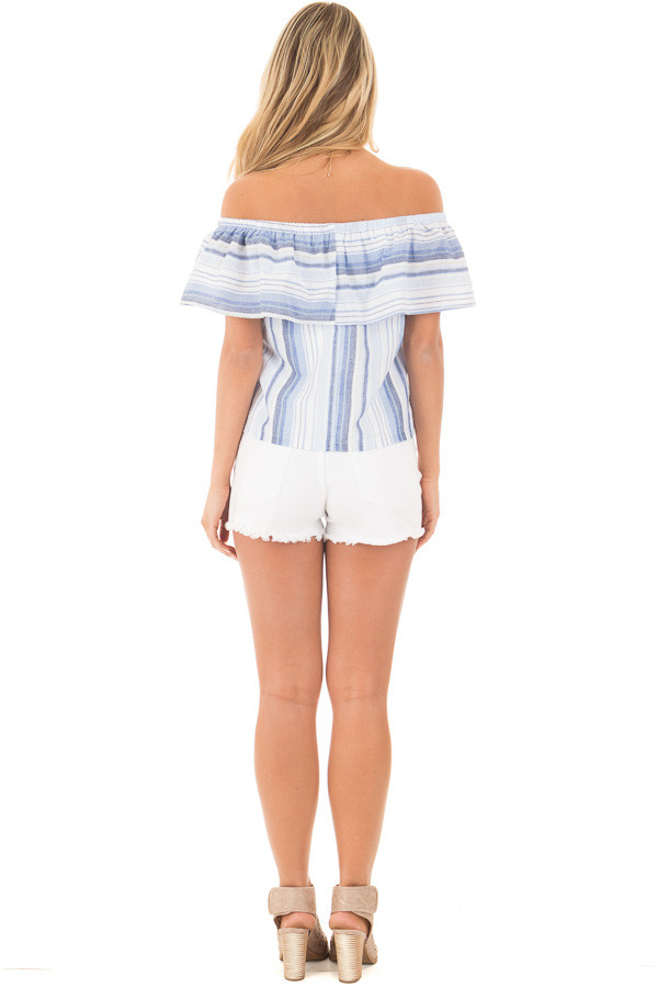 Blue and White Striped Off Shoulder Overlay Top back full body