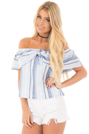 Blue and White Striped Off Shoulder Overlay Top front close up