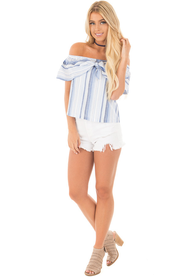 Blue and White Striped Off Shoulder Overlay Top front full body