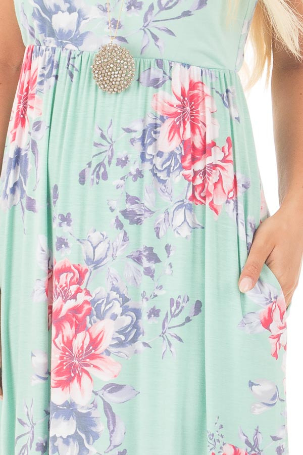 Mint Floral Print Sleeveless Maxi Dress with Side Pockets detail