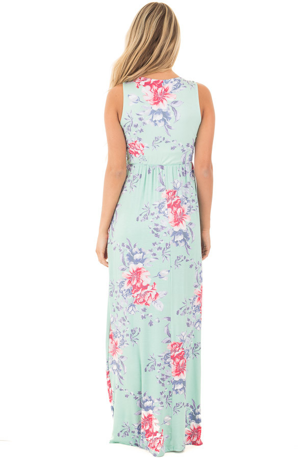 Mint Floral Print Sleeveless Maxi Dress with Side Pockets back full body