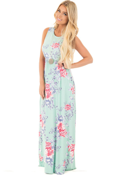 Mint Floral Print Sleeveless Maxi Dress with Side Pockets front full body