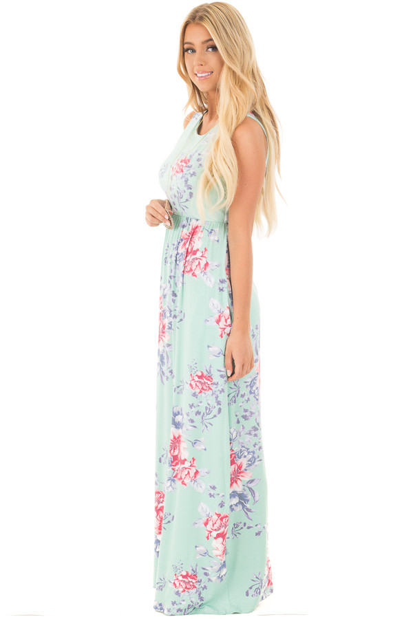 Mint Floral Print Sleeveless Maxi Dress with Side Pockets side full body