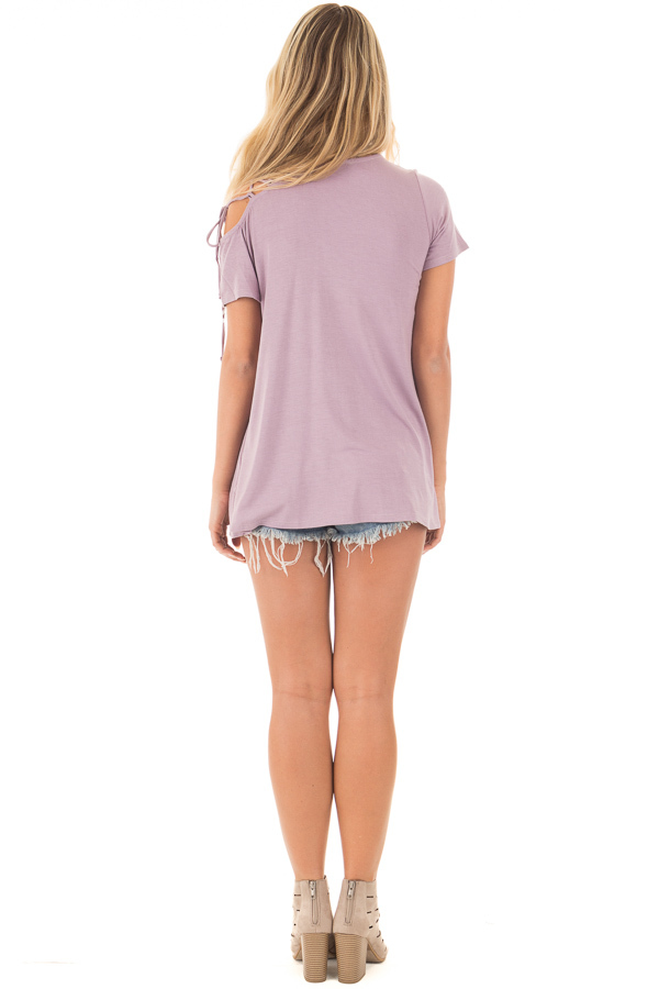 Misty Lavender Tee with Lace Up Sleeve Detail back full body