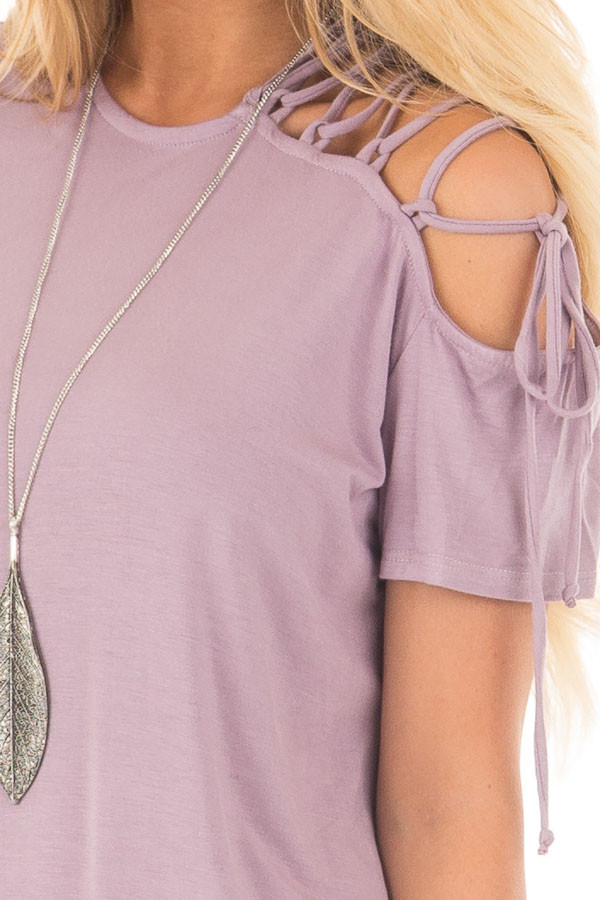 Misty Lavender Tee with Lace Up Sleeve Detail detail