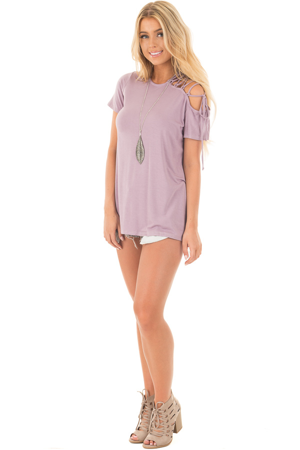 Misty Lavender Tee with Lace Up Sleeve Detail front full body