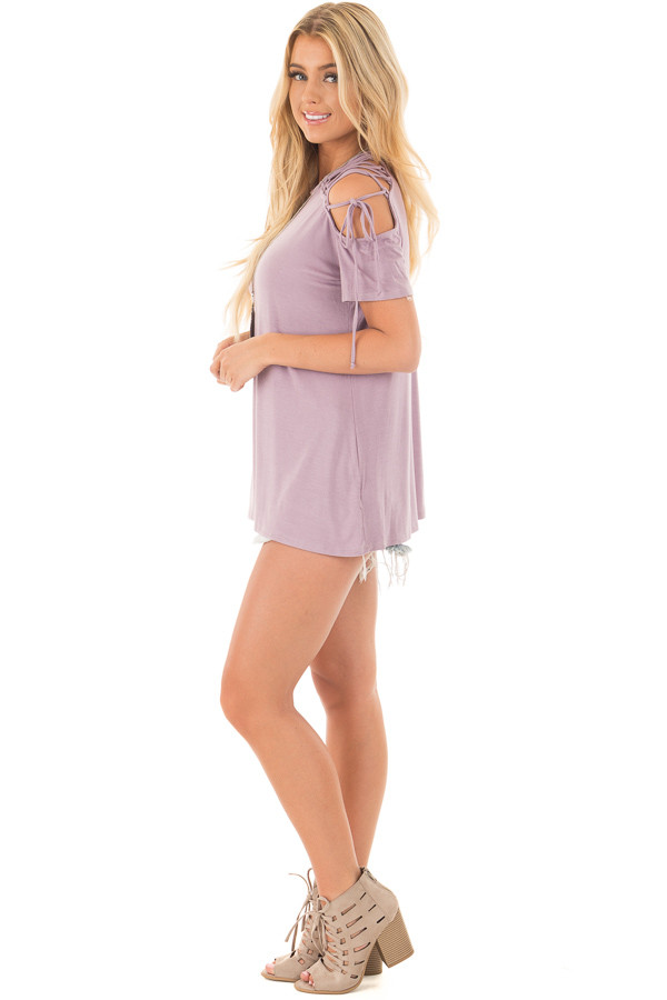 Misty Lavender Tee with Lace Up Sleeve Detail side full body