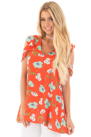 Rust Floral Print Tunic with Ruffle Cold Shoulder Detail front close up