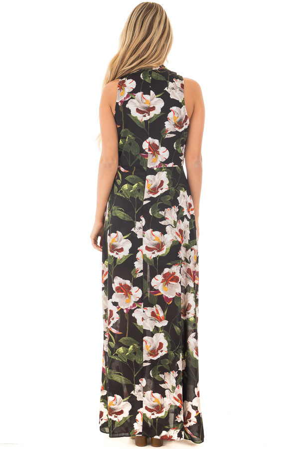Black Floral Romper with Maxi Skirt Panels and Keyhole Front back full body