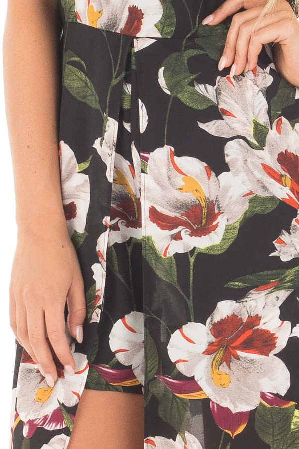Black Floral Romper with Maxi Skirt Panels and Keyhole Front detail