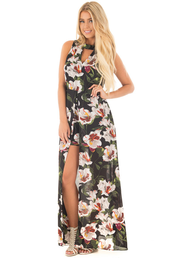 Black Floral Romper with Maxi Skirt Panels and Keyhole Front front full body