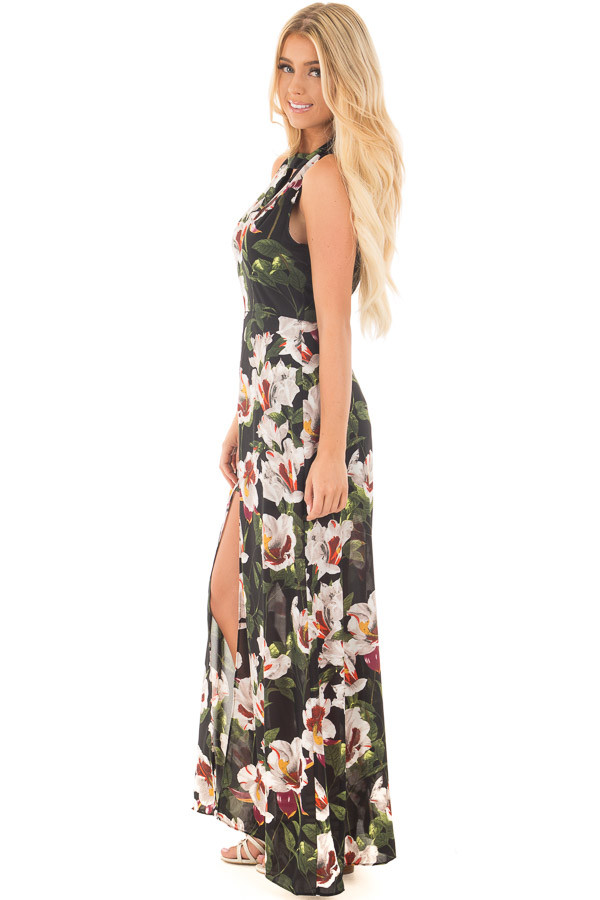 Black Floral Romper with Maxi Skirt Panels and Keyhole Front side full body