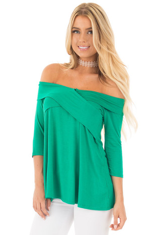 Kelly Green Cross Over Off Shoulder 3/4 Sleeve Top front close up