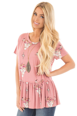 Mauve Baby Doll Top with Floral Skull Print front close up