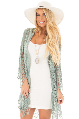 Sage Long Sleeve Detailed Scalloped Lace Kimono front close up