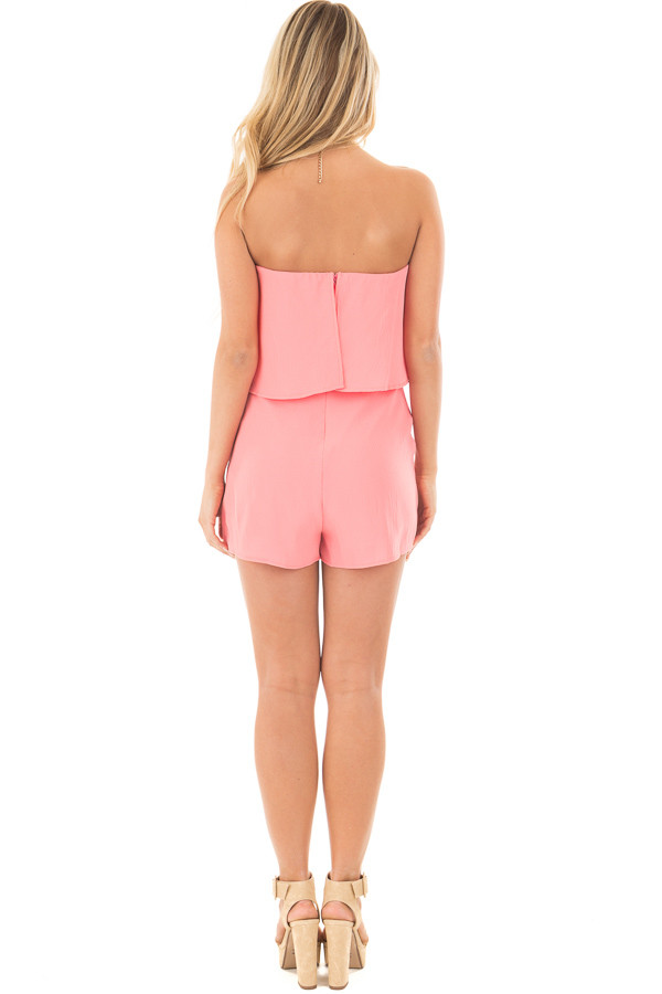 Coral Strapless Romper with Overlay Detail back full body