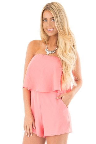 Coral Strapless Romper with Overlay Detail front close up