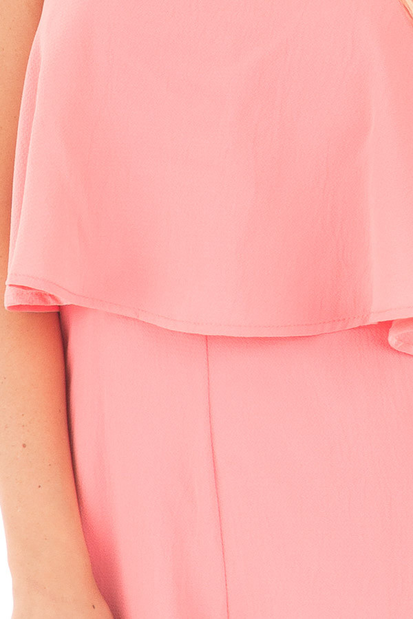 Coral Strapless Romper with Overlay Detail detail