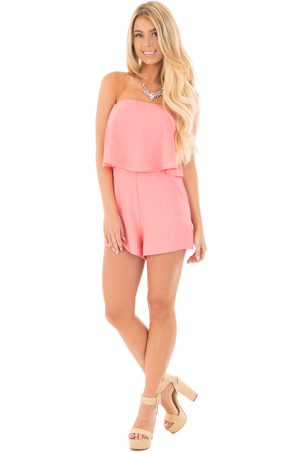 Coral Strapless Romper with Overlay Detail front full body