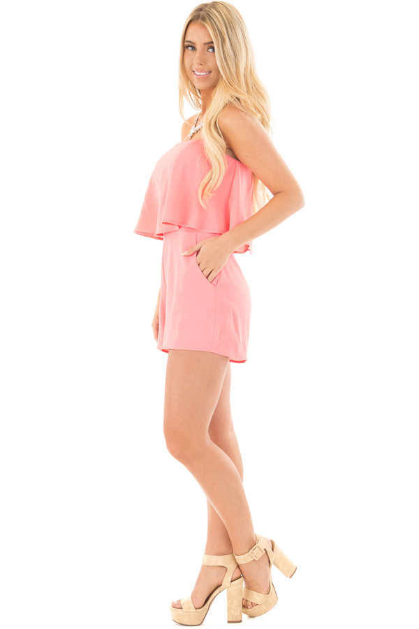 Coral Strapless Romper with Overlay Detail side full body